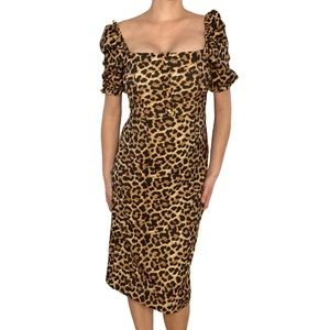 🆕 Zara Leopard Print Fitted Midi Dress Size Med